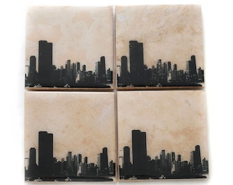 Chicago Skyline Edition II Coaster Set (4 Stone Coasters, Black & White) Cityscape Home Decor