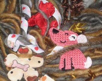 Handspun Art Yarn / Puppy Love / cute OOAK / You choose the colors / Pet scarf / Custom made by Fiber Artist GERRY