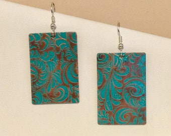 Copper etched with dark turquoise accent color earrings, sterling silver earwires