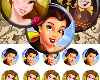 Beauty and the Beast - Bottle Cap Images 4x6 Digital Collage INSTANT DOWNLOAD