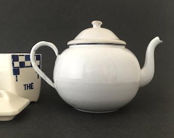 Vintage White Teapot European Enamelware Farmhouse Kitchen Decor