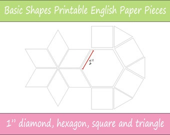 "1"" Printable Basic Shapes for English Paper Piecing 