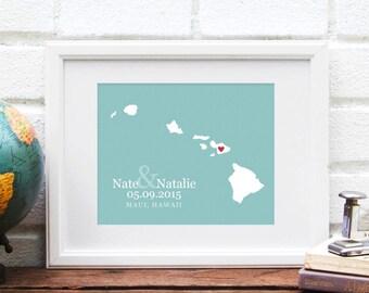 Hawaii Map, Hawaiian Islands, Wedding Gift, Hawaii Wedding Map, Honeymoon Keepsake, Destination Wedding, Engagement Gift, Anniversary Gift