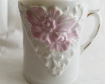 Vintage Shaving Cup or Mug, White Porcelain with Delicate Floral Relief