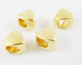 4 Large Hole Heart Bead Spacers - 22k Matte Gold Plated