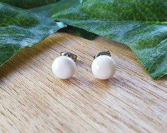 White Turquoise Natural Gemstone Stud Earrings