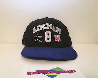 Vintage Dallas Cowboys Troy Aikman NFL Quarterback Club Black/Blue AJD Snapback Hat