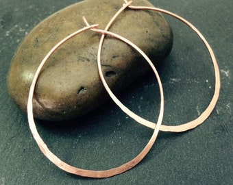 Copper Hoop Earrings Thin Wire Metal Hammered Texture Hoops Medium