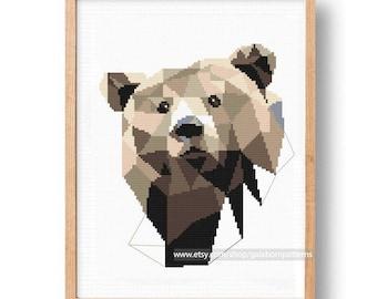 Baby Cross Stitch Pattern, Animals, Bear, Woodland, Nursery Embroidery DIY