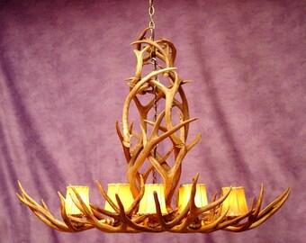 Antler chandelier etsy real antler rocky mountain mule deer chandelier light rustic aloadofball Choice Image