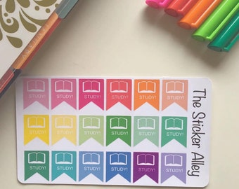 18 Study Stickers (Perfect for Erin Condren Life Planners, Planning and Scrapbooking)