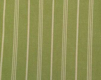 Green and White Stripe - Upholstery Fabric By The Yard