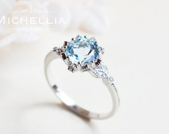 Vintage Floral Ring in Aquamarine, Aquamarine Leaf Engagement Ring, Available in 14K Gold, 18K Gold, or Platinum, R2001