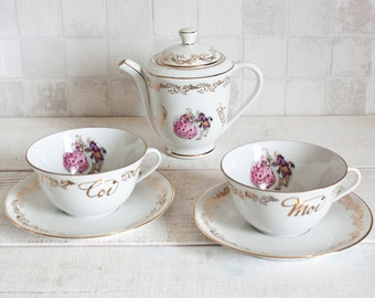 "Lovely Vintage French Porcelain ""Nous Deux"" Tea Set || ""Us Two"" White and Blue porcelain - Shabby Chic Porcelain Set"