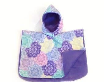 Carseat Poncho, car seat Poncho, girl poncho, children's car seat poncho, poncho for kids, toddler poncho, baby poncho, purple mandala