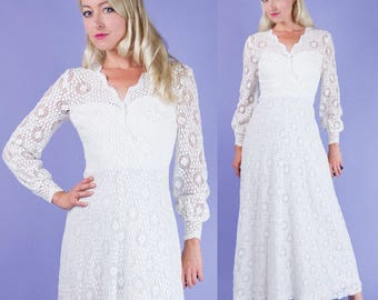 Paul STANLEY Vintage 60s White Crochet Lace Maxi Wedding/Summer Party Dress XS/S