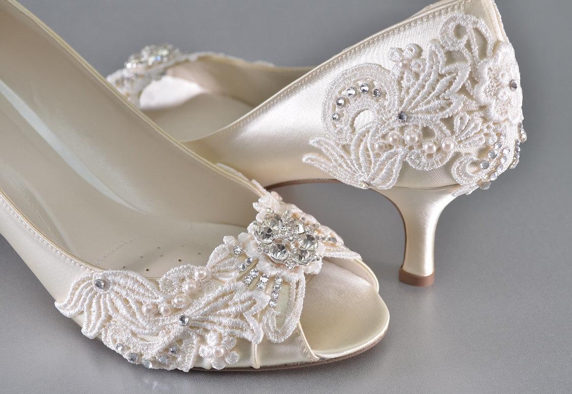 Womans Low Heel Wedding Shoes Vintage
