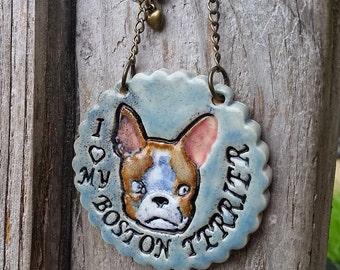 I Love My Boston Terrier - Blue Ceramic Ornament with Red Boston