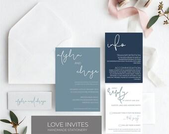 Dusty blue wedding invitation | navy and slate wedding invite | classic simple wedding invitation | printable wedding invitation