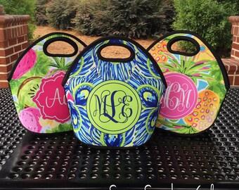Monogrammed Lunchbox, Monogram Lunch Bag,  Monogrammed Lunch Tote, Personalized Lunch Tote, Monogrammed Gift for Her | Lunch Bag for Women