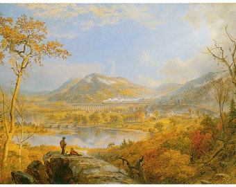 Hand-cut wooden jigsaw puzzle. STARRUCCA VIADUCT RAILWAY. Jasper Francis Cropsey. Wood, collectible. Bella Puzzles.