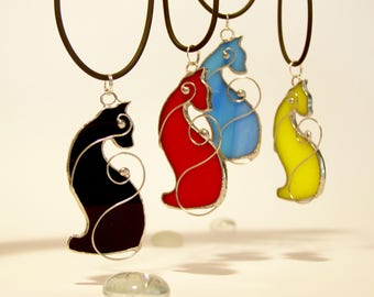 Cat Ornament, Cat Lover Gift, Stained Glass Cat, Cat Pendant Necklace, Holiday Gift, Black Cat Jewelry,Little Animal Decor, Christmas Gift