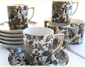 Set of 6 espresso paisley pattern coffee cups - Made in Japan