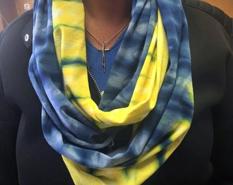Infinity Scarf-Cotton Jersey Scarf-Tie Dye Scarf-Indigo Blue and Citrus Yellow OR Pick your two colors