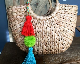 Half Moon Straw Handbag with Removable Pom Pom and Tassels