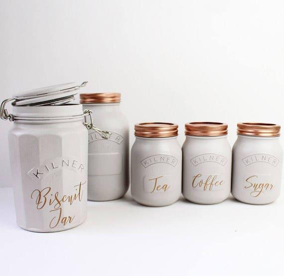 Grauer Küchenset von 3 Tee Kaffee und Zucker Kanister