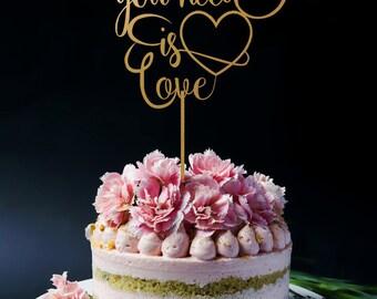 Customized Wedding Cake Topper, Custom Personalized Wedding Cake Topper, Personalized Cake Topper for Wedding, All You Need Love Cake Topper