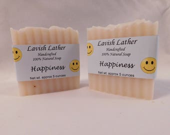 Happiness- 4.5oz (approx) bar. Handmade natural soap