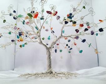 Wire tree sculpture, wire gemstone tree, gemstone tree, tree of life, tree of life sculpture, birthstone, gift, sculpture, tree sculpture.