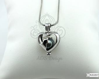 Pick A Pearl Cage Cat Face Heart Silhouette Cat Jewelry Profile Princess Kitty Pet Silver Plated Locket Charm Necklace