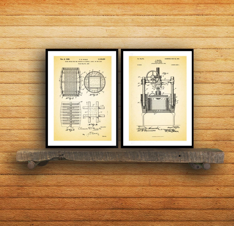 Inventions of Wine Patent Print Set of 2 - Wine Patent - Wine Art ...