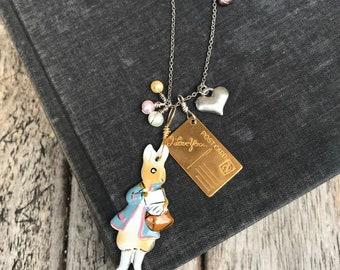 Bunny rabbit mixed media charm necklace. Easter, Peter Rabbit themed, pastels, spring jewelry