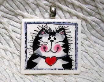 Striped Tabby Cat Pottery Pendant / Slide With Silvertone Bail Handmade by GMS