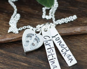 Hand Stamped Mothers Necklace with Footprints, New Mom Necklace, Personalized Jewelry for Mom, Baby Feet Mommy Necklace, Push Present