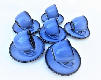 Vintage Demitasse Cup Sets | Espresso Set | Cobalt Blue Cups Saucers Set | Ironstone Tea Cups and Saucers | Set of 6