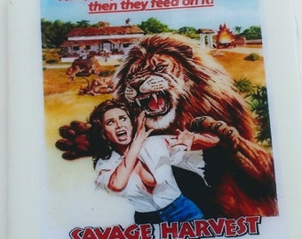 Savage Harvest (1981) coaster Tom Skerritt animal attack horror film Michelle Phillips lions attack family in Africa survival Shawn Stevens