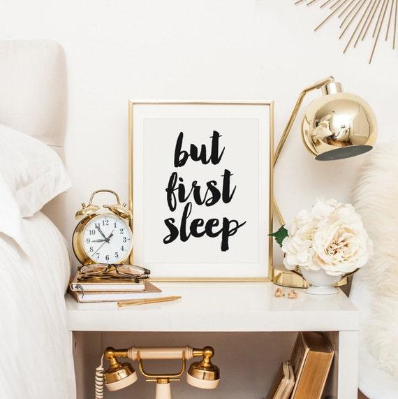 But first sleep bedroom decor nightstand decor bedroom art - How to decorate a nightstand ...