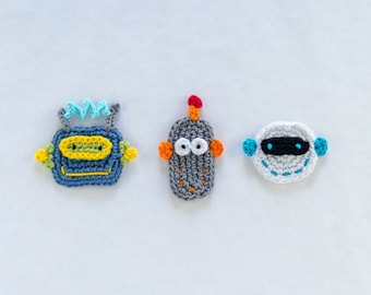 Instant Download - New PDF Crochet Pattern - Robots Applique - Text instructions and SYMBOL Chart instructions