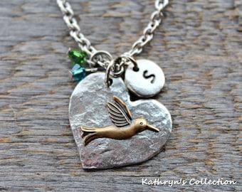 Hummingbird Necklace, Hummingbird Jewelry, Hummingbird Gift, Bird Jewelry