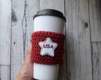 4th of July party favor, 4th of July mug cozy, red white and blue, 4th of July, summer party favor, to go mug sleeve, eco friendly gift