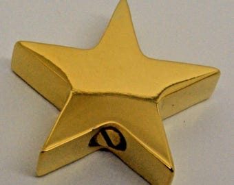 Chunky Star Cremation Urn Pendant - 24k Gold Plated Keepsake Charm Necklace - Holds Ashes - Engraving/Personalised/Bespoke Unique Funeral