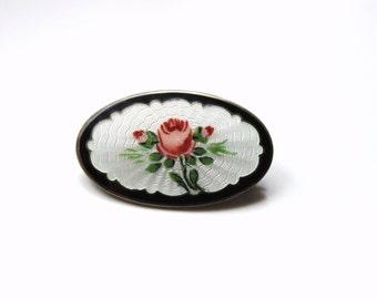 1930s Norway  sterling  silver enamel guilloche rose flower brooch pin