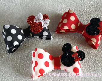 Stunning Baby Girls Black Red White Spotty Minnie Hair Clip Hair Bow  HANDMADE