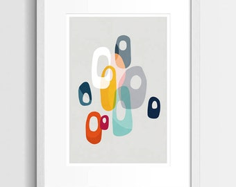 Abstract Art Print, Retro Poster, Modern Art Print, Mid Century Art, Geometric Print, Modern Abstract Art, Contemporary Art, Colourful Art