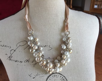 champagne/ivory/white with champagne crystals.-wedding jewelry, bridesmaids necklace