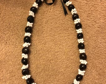 Black Kakui Nut Necklace w/ White Shells
